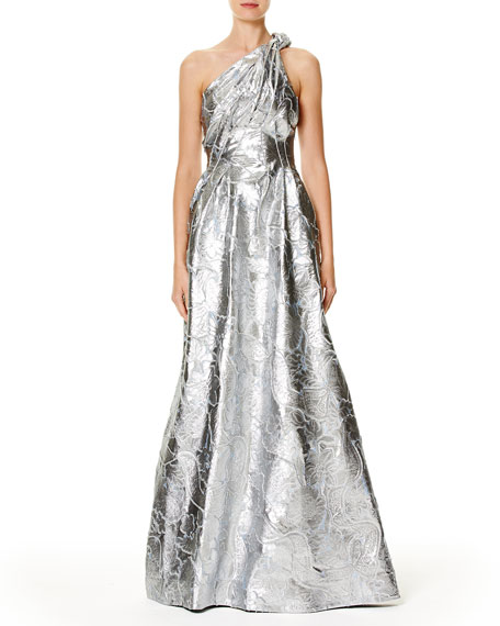 Metallic Jacquard One-Shoulder Gown, Blue Metallic