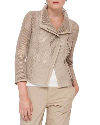 Mesh 3/4-Sleeve Biker Jacket, Sand Top Reviews