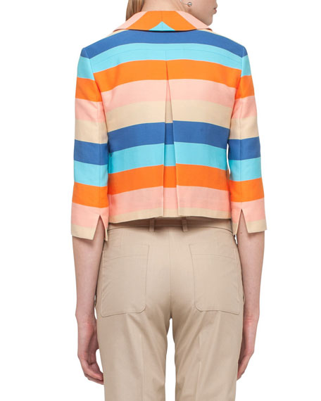 Striped 3/4-Sleeve Cropped Jacket, Turquoise/Marigold