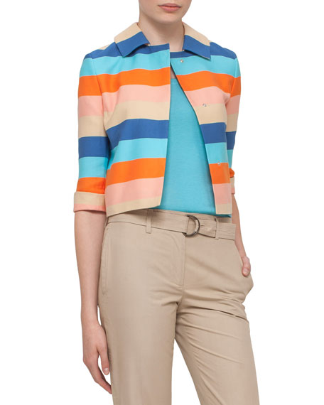 Akris punto Striped 3/4-Sleeve Cropped Jacket, Turquoise/Marigold