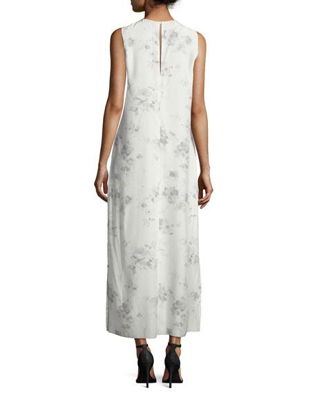 Sleeveless Floral Silk Midi Dress, Charcoal