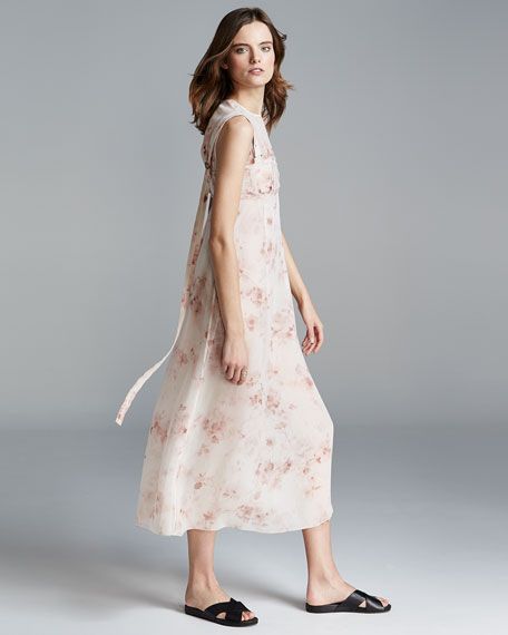 Sleeveless Floral A-Line Dress, Light Pink