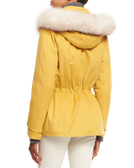 Storm System Fox-Trim Cashmere Coat