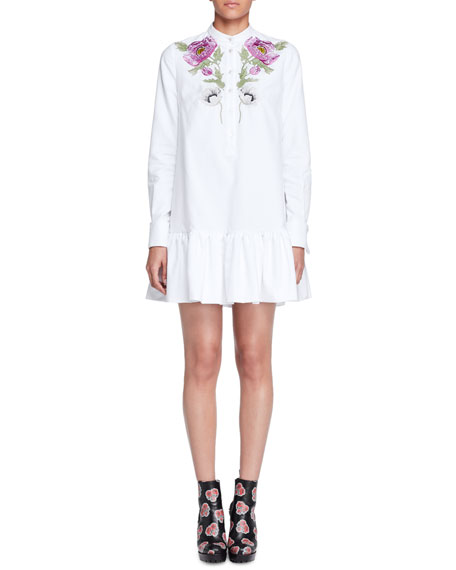 Alexander McQueen Floral-Embroidered Pique Tunic Dress