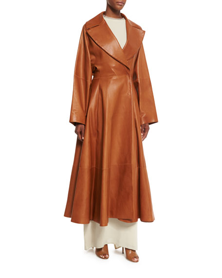 Laug Leather Fit-&-Flare Coat, Antique Brass