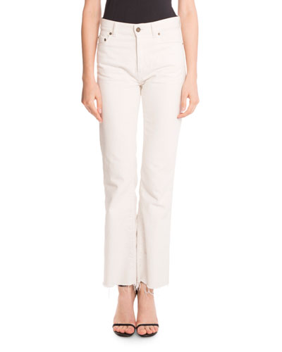 Frayed Cropped Denim Jeans, White