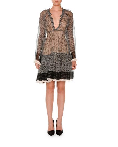 Long-Sleeve Boho Peasant Dress, Black