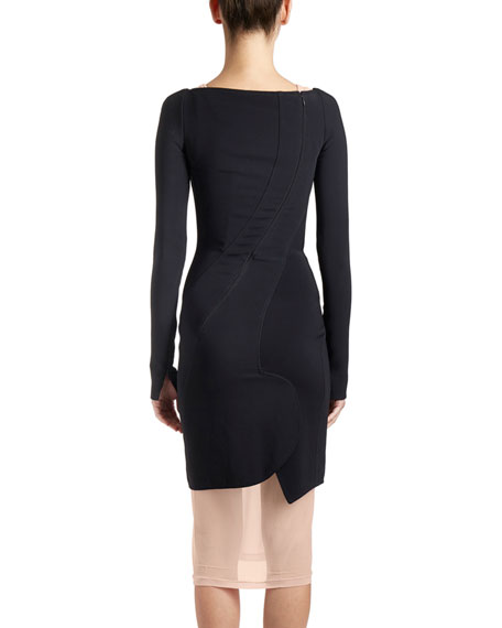 Long-Sleeve Cady Sweetheart Dress, Black