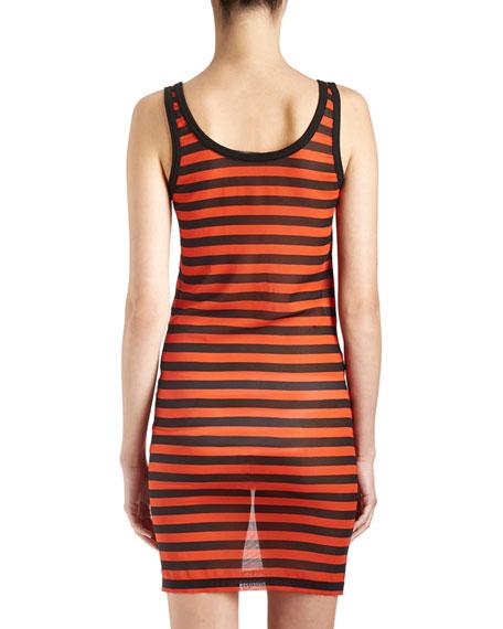 Striped Sheer Tank Dress, Black/Orange