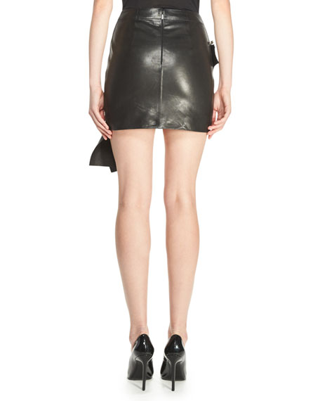 Saint Laurent Ruffled Leather Mini Skirt, Black