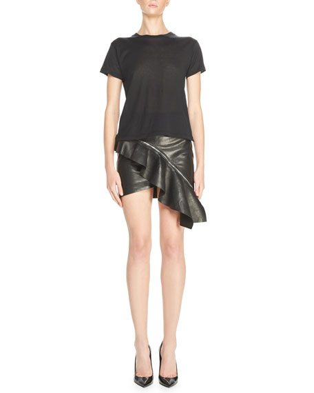 Ruffled Leather Mini Skirt, Black