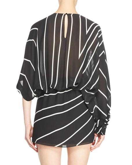 Gathered Star-Print Mini Dress, Black/White