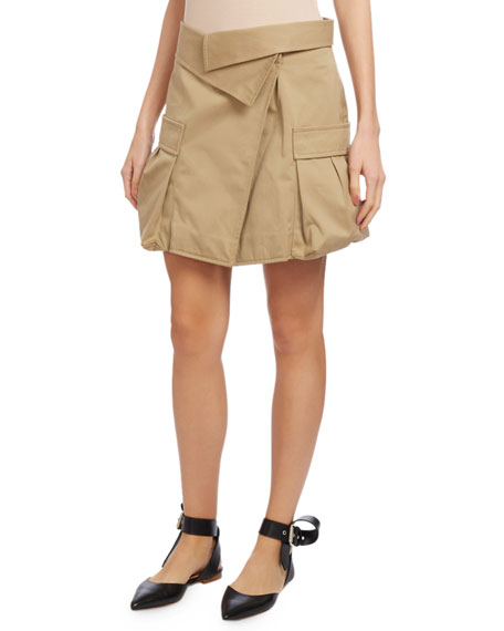 Monse Cotton Canvas Cargo Skirt, Khaki