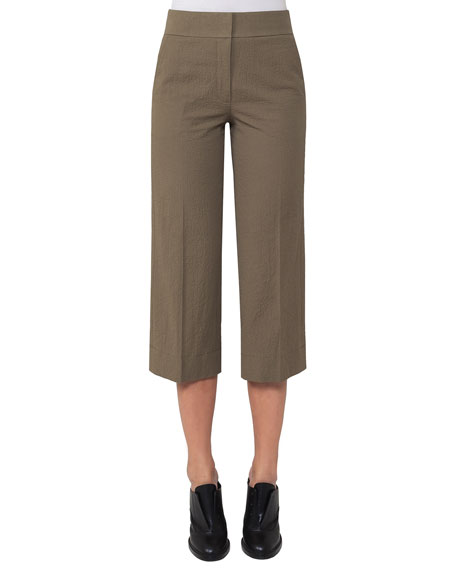 Madison Seersucker Cropped Straight-Leg Pants, Taupe