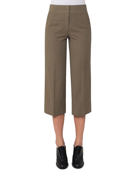 Akris punto Madison Seersucker Cropped Straight-Leg Pants, Taupe