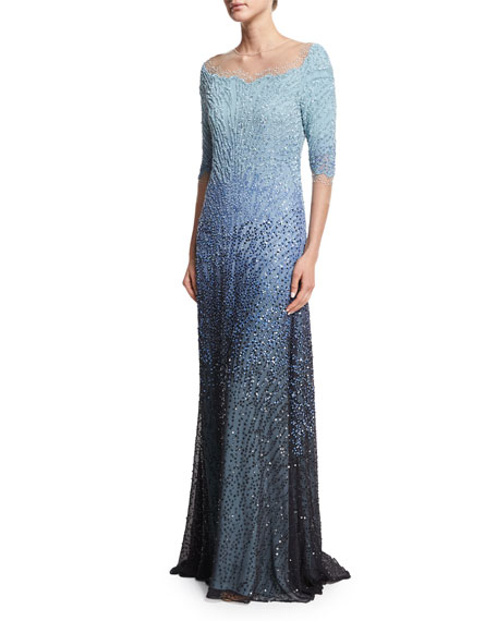 3/4-Sleeve Embellished Degrade Gown, Blue