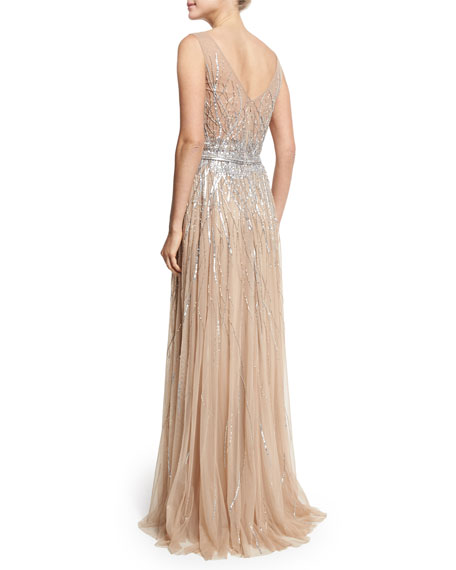 Sleeveless Embellished Tulle Gown, Gold