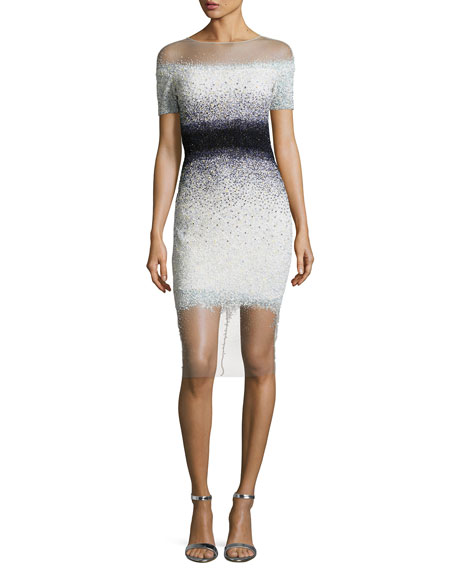 Confetti-Embellished Cocktail Dress, White/Black