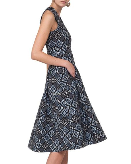 Jacquard Zip-Front Sleeveless A-Line Midi Dress