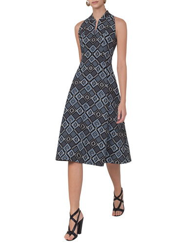 Jacquard Zip-Front Sleeveless A-Line Midi Dress