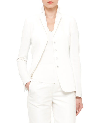Snap-Front Double-Faced Jacket, Moonstone