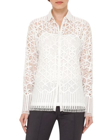 Geometric Lace Button-Front Blouse