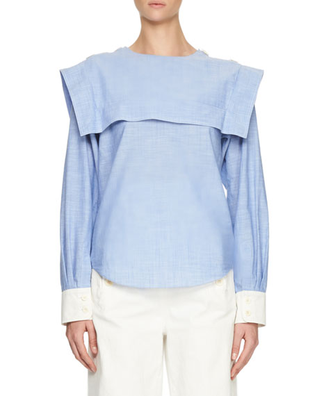Tiered Chambray Contrast-Cuff Blouse, Lavender
