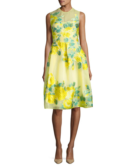 Lela Rose Floral Fil Coupe Full-Skirt Dress, Yellow