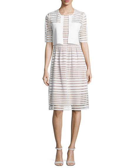 Windowpane-Lace Sleeveless Dress