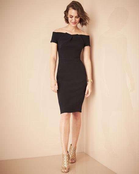 Off-the-Shoulder Crepe Sheath Dress, Navy