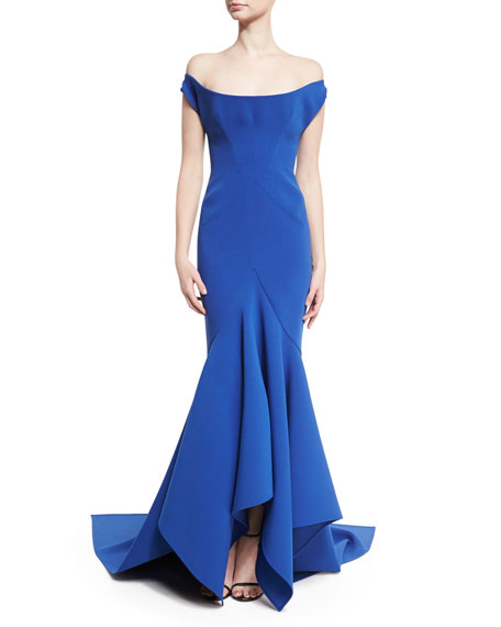Scoop Off-the-Shoulder Trumpet Gown, Blue
