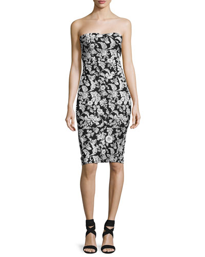 Strapless Floral Jacquard Party Dress, Black/White