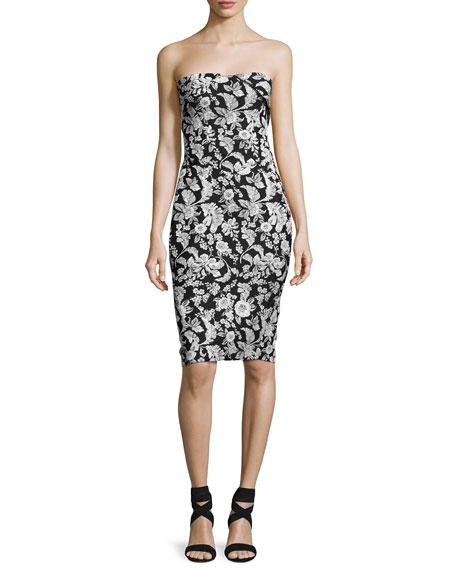 Zac Posen Strapless Floral Jacquard Party Dress, Black/White