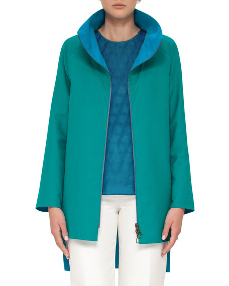 Double-Face Bicolor Parka Coat, Whirl Away