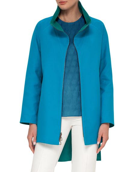 Akris Double-Face Bicolor Parka Coat, Whirl Away