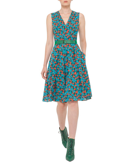 Akris Ai-Print Sleeveless A-Line Dress, Multi