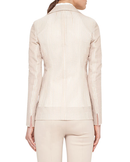 Pick-Stitched Two-Button Jacket, Neutral