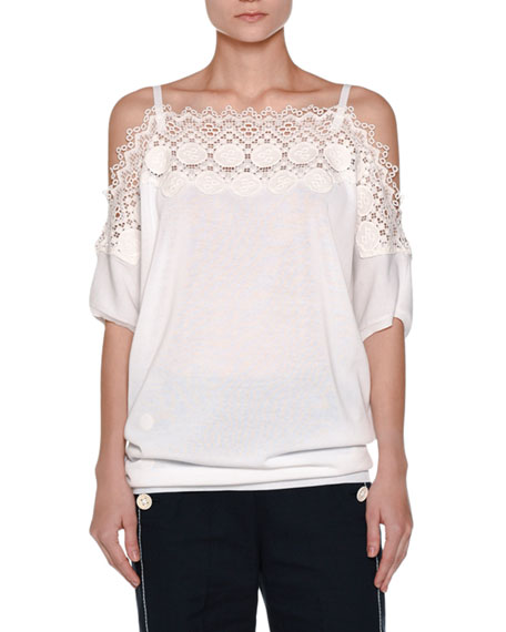 Agnona Lace-Trim Off-the-Shoulder Top, White