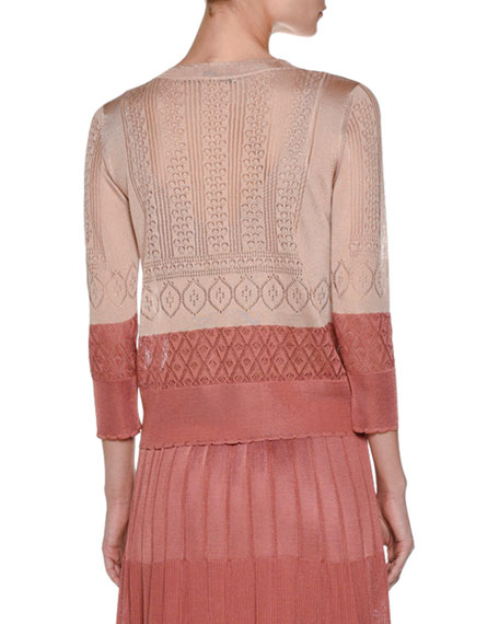 Colorblock Pointelle 3/4-Sleeve Cardigan, Pink/Multi