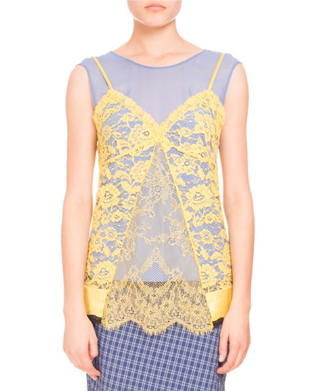 Sonora Lace-Overlay Blouse, Lemon