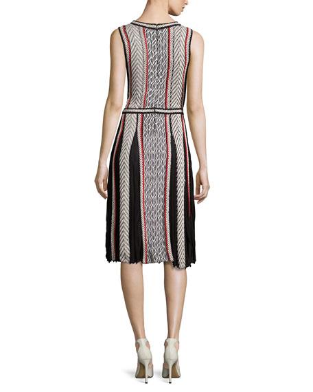 Sleeveless Tweed-Print Day Dress, Black Pattern