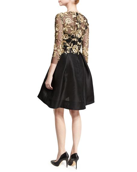 Metallic Lace & Gazar 3/4-Sleeve Dress, Black/Gold