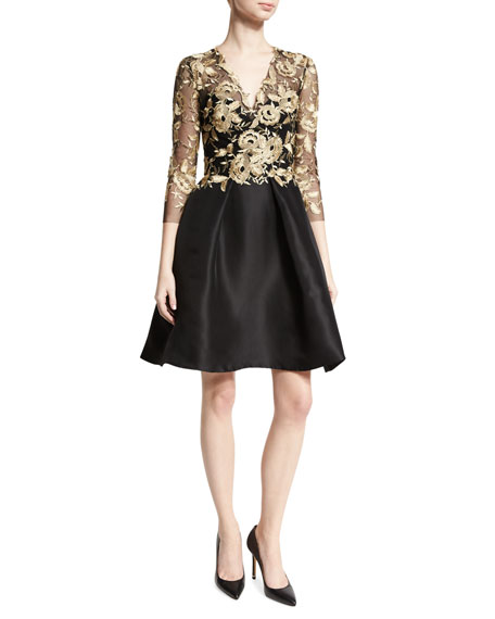 Metallic Lace & Gazar 3/4-Sleeve Dress, Black/Gold