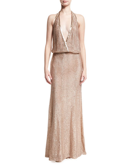 Beaded Deep-V Halter Gown, Pink Metallic