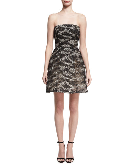 Monique Lhuillier Strapless Embroidered Tulle Cocktail Dress,