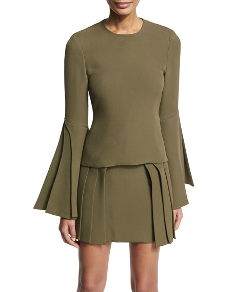 Brandon Maxwell Layered-Sleeve Georgette Blouse