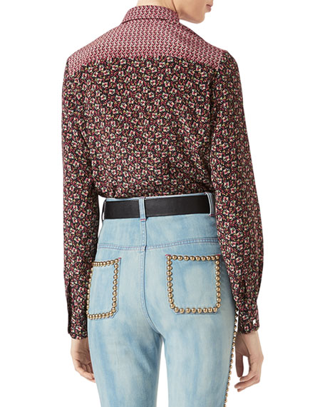 Gucci Autumn Flower Printed Silk Shirt, Maroon