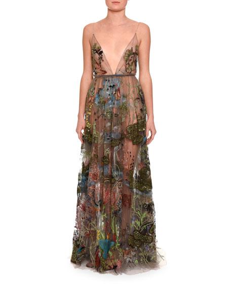 Embellished Sleeveless V-Neck Gown, Black
