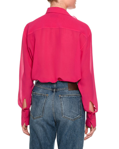 Tie-Neck Button-Detail Blouse, Pink
