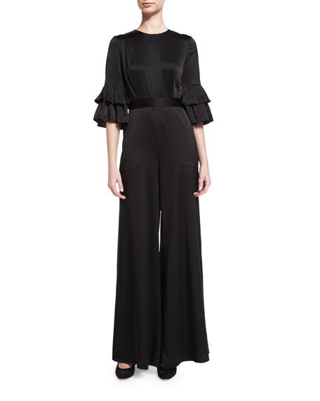 Satin Flutter-Sleeve Jumpsuit, Black